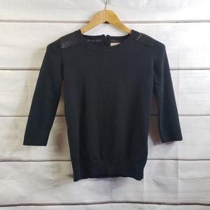 Banana Republic Black Sweater Leather Patch Zipper